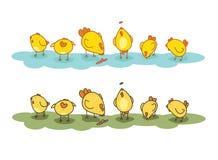 Kippen op het gazon Royalty-vrije Illustratie