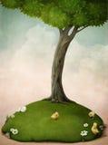 Kippen op het gazon onder een boom. vector illustratie