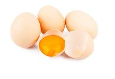 Kippen ruwe eieren Royalty-vrije Stock Foto