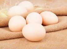 Kippen ruwe eieren op jute royalty-vrije stock afbeelding