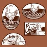 Kippen uitstekende etiketten Royalty-vrije Stock Fotografie