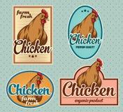 Kippen uitstekende etiketten Royalty-vrije Stock Foto's