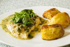 Kippenborst met saus en aardappel Royalty-vrije Stock Foto