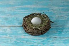 Kippenei in een nest Stock Afbeelding