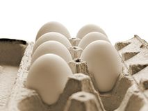 7 kippeneieren die in gerecycleerd kartonpakket vers zijn stock foto's
