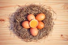 Kippeneieren in een nest op houten, Hoogste mening Royalty-vrije Stock Foto