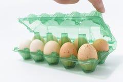 Kippeneieren in een plastic container op een witte achtergrond Royalty-vrije Stock Foto's
