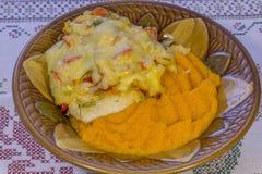 Kippenfilet met groenten en pompoenhavermoutpap die wordt bedekt Stock Afbeelding