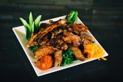 kippengrill met aardappel Royalty-vrije Stock Fotografie