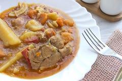 Kippenhutspot met aardappels in plaat Stock Fotografie