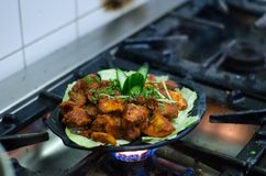 Kippenkerrie De keuken van Indiër en Nepali- Royalty-vrije Stock Fotografie