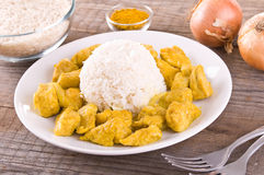 Kippenkerrie met rijst de Caraïben Royalty-vrije Stock Foto's