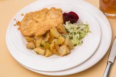 Kippenlapje vlees met gebraden aardappels Royalty-vrije Stock Foto