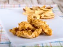 Kippenoffertes en frieten Stock Afbeelding