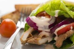 Kippenomslag met verse groenten en lapje vleesaardappels, op pl Stock Fotografie