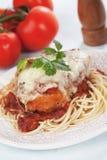 Kippenparmezaanse kaas met spaghettideegwaren Stock Afbeeldingen