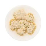 Kippensalade op reepjes van Stokbrood Stock Fotografie