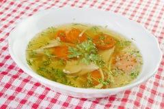 Kippensoep of bouillon met noodels, de stukken van het kippenvlees, wortelplakken en kruiden Royalty-vrije Stock Afbeelding