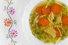 Kippensoep of bouillon met noodels, de stukken van het kippenvlees, wortelplakken en kruiden Stock Afbeelding