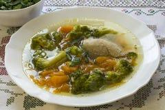 Kippensoep met pompoen en broccoli Royalty-vrije Stock Afbeelding