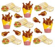Kippenvleugels en shawarma Vectorpatroon Snel voedselachtergronden royalty-vrije illustratie
