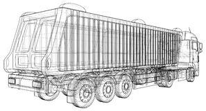 Kipperlastwagen auf transparentem Hintergrund, Logistiktransport und Industriegeschäft des Frachtfrachttransportes lizenzfreie abbildung