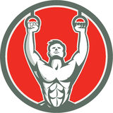 Kipping Muscle Up Cross-fit Circle Retro Royalty Free Stock Images