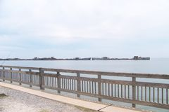Kiptopeke Pier with Breakwater Concrete Ships royalty free stock images