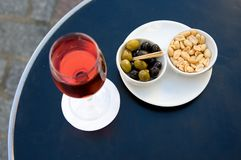 Kir cassis and nibbles Stock Photography