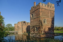 Kirby Muxloe Castle. The moated castle at Kirby Muxloe, Leicestershire built by Lord Hastings in 1480 Royalty Free Stock Images