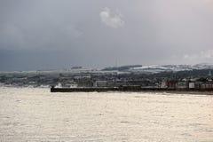 日鼓笛kircaldy苏格兰风雨如磐的冬天 免版税库存图片