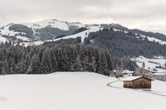 Kirchberg in Tirol, Tirol/Austria - March 26 2019: winter landscape covered with snow royalty free stock photos
