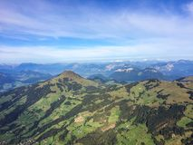 Kirchberg, Tirol/Austria - September 2015: view on the landscape and Austrian Alps from the ballooning basket. View on the landscape and Austrian Alps from the stock photos