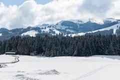 Kirchberg in Tirol, Tirol/Oostenrijk - Maart 26 2019: Het Oostenrijkse landschap van Alpen met sneeuw behandelde bergen royalty-vrije stock afbeelding