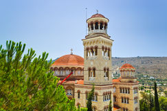 Kirche-Agio Nectarios auf Insel Aegina, Griechenland Lizenzfreie Stockfotos