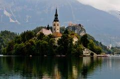 Kirche auf der ausgebluteten Seeinsel, Slowenien Stockbild