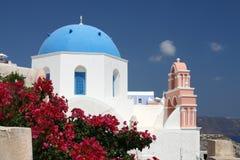 Kirche auf Santorini Stockbild