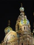 Kirche auf verschüttetem Blut St Petersburg nachts (2) Lizenzfreies Stockbild