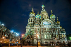 Kirche auf verschüttetem Blut in St Petersburg Stockbilder