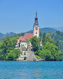 Kirche der Annahme, See geblutet, Slowenien Lizenzfreies Stockfoto