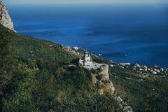 Kirche der Auferstehung von Christus in Foros, stehend auf einem Felsen lizenzfreie stockfotografie