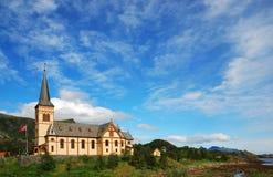Kirche der Lofoten Inseln. Stockfotografie