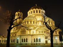 Kirche in der Nacht Stockbild