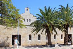 Kirche der Vermehrung der Laibe und der Fische in Tabgha, Isr stockfotografie