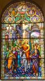 Kirche des Fensters des Buntglases Heilig-Leon-De-Westmount Stockfoto