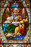 Kirche des Fensters des Buntglases Heilig-Leon-De-Westmount Stockbild