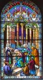 Kirche des Fensters des Buntglases Heilig-Leon-De-Westmount Lizenzfreies Stockfoto