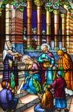 Kirche des Fensters des Buntglases Heilig-Leon-De-Westmount Stockfotos
