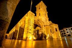 Kirche des Heiligen Lazarus nachts Larnaka, Zypern Lizenzfreie Stockfotos
