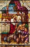 Kirche des Jesus-Cana Buntglas-S Peter Paul Stockbild